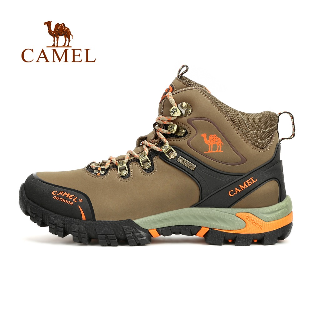 CAMEL Outdoor Sports Hiking Shoes For Men Leather Mesh High-Top Lace-up Breathable Wear-resistant Hunting Camping Trekking Boots mesh yoke lace applique top