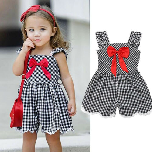 Sweet Toddler Kid Baby Girl Clothes Plaid Sleeveless Romper Dress Summer Outfit