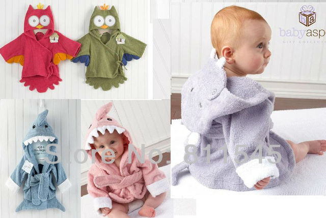 1 Piece Retail, Cute Animal Fashion Baby Robe Hooded Terry Bath Wraps Towel Children's Bathrobe Wear Kids Clothes, Free Shipping