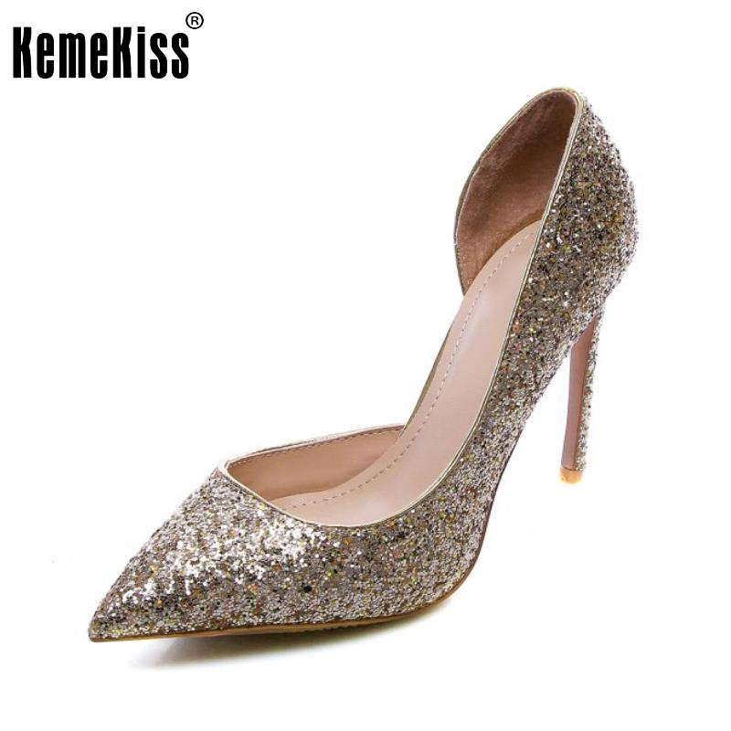 KemeKiss Lady Real Leather High Heel Shoes Women Sequins Pointed Toe Thin Heels Pumps Sexy Party Female Footwears Size 34-39 doratasia denim eourpean style big size 33 43 pointed toe women shoes sexy thin high heel brand design lady pumps party wedding