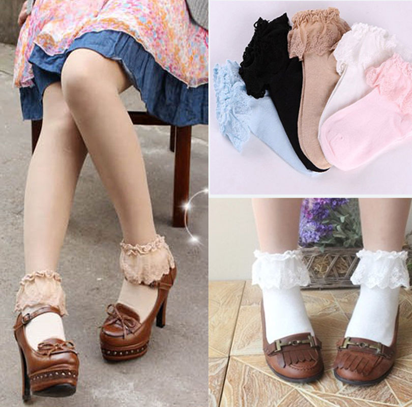 1Pair Lovely Sweet Cute Women Girls Princess   Socks   Vintage Cotton Lace Ruffle Frilly Floral Ankle   Socks   6 Colors Available