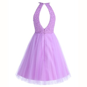 Image 2 - ANGELSBRIDEP Short Lilac Homecoming Dresses 2020 Mini Beading Homecoming Dress Open Back Short Graduation Dresses Party Gowns