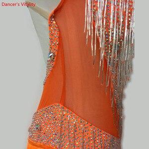Image 5 - Custom made Latin Dance Dress Women Girls Rumba Samba Cha cha Salsa Ballroom Competition Costume Clothing Diamond Dance Dress