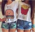 Mejores Amigos T Shirt Verano 2016 Camiseta Ocasional de Las Mujeres Tops linda impresión de Manga corta Del O-cuello camisetas mujer camiseta femenina blanco