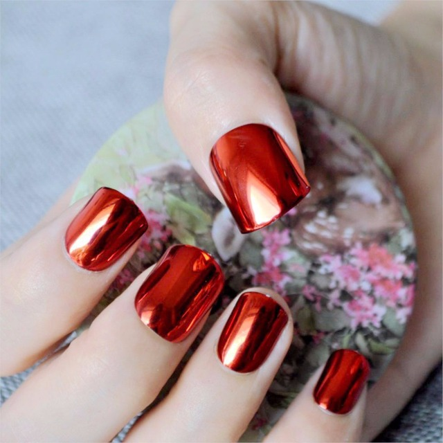 Fashion Red Metallic False Nail Tips Bright Metal Surface Flat Top