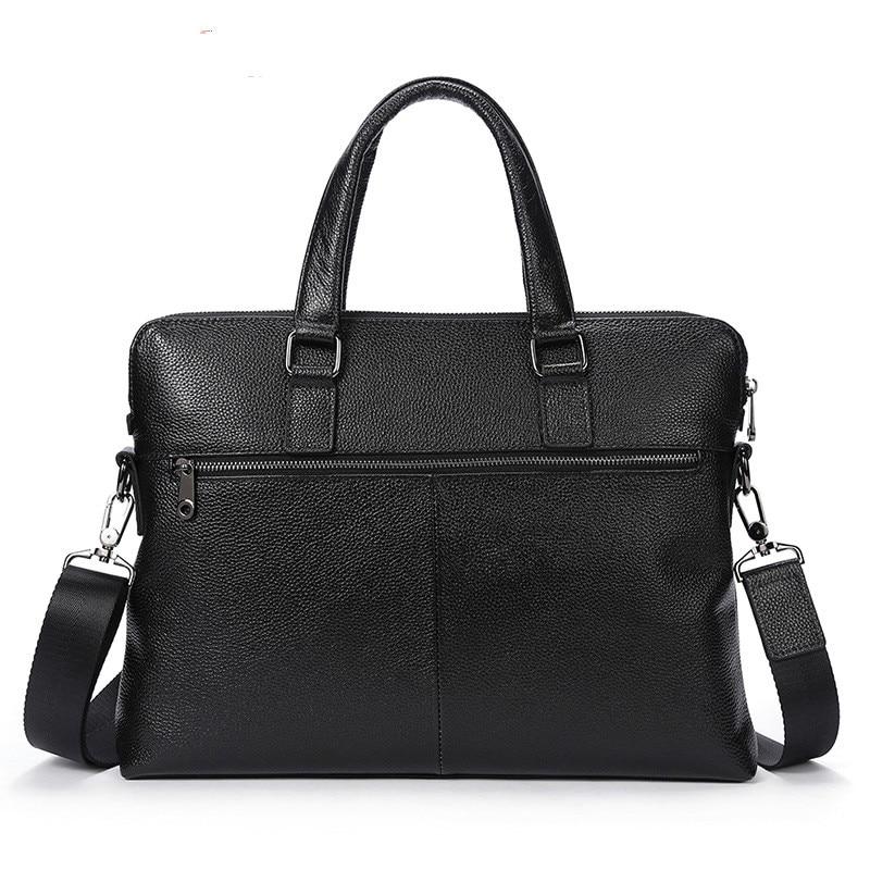 Genuine Lether Men's Bag Bolso Hombre Business Men Cowhide Soft Handbags Briefcase Leather Laptop Computer Bag Bolso Ordenador