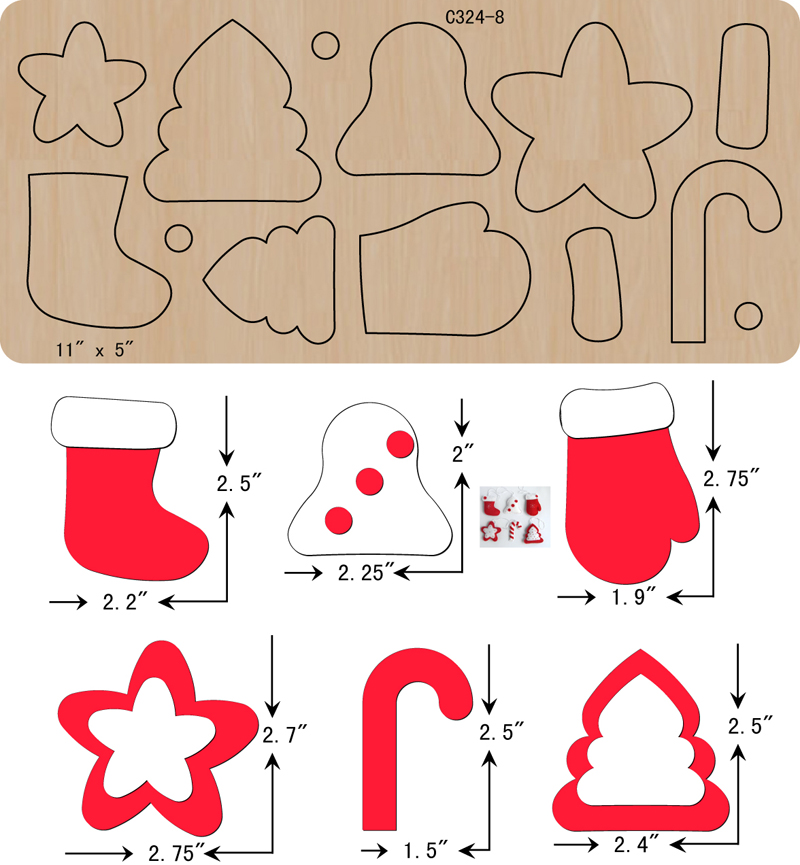 New  Christmas Set Wooden Die Scrapbooking C-324-8  Cutting Dies