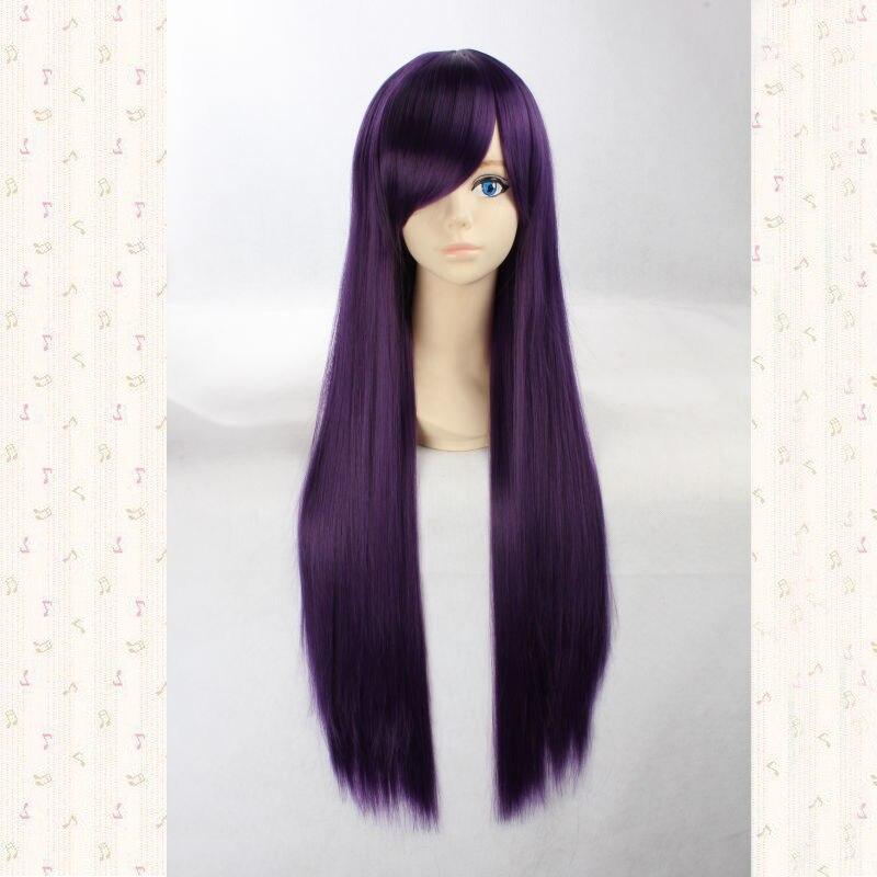 Shirakiin Ririchiyo 80cm Dark Purple Long Straight Synthetic Cosplay Hair Wig.Heat Resistance Top Quality + Wig Cap
