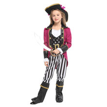 Kids Child Girls Skull Pirate Marquis Costume Rose Red Outfit Halloween Purim Carnival Party Masquerade Mardi Gras Outfit my 1st mardi gras clown hat white top green girls baby skirt cloth outfit 3 12m