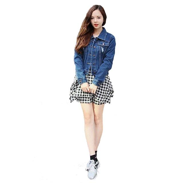93a9c2a1b0 Denim Jacket Women Fashion Vintage Long Sleeve Dark Frayed Blue Jean Coat Ladies  Girl Retro Denim