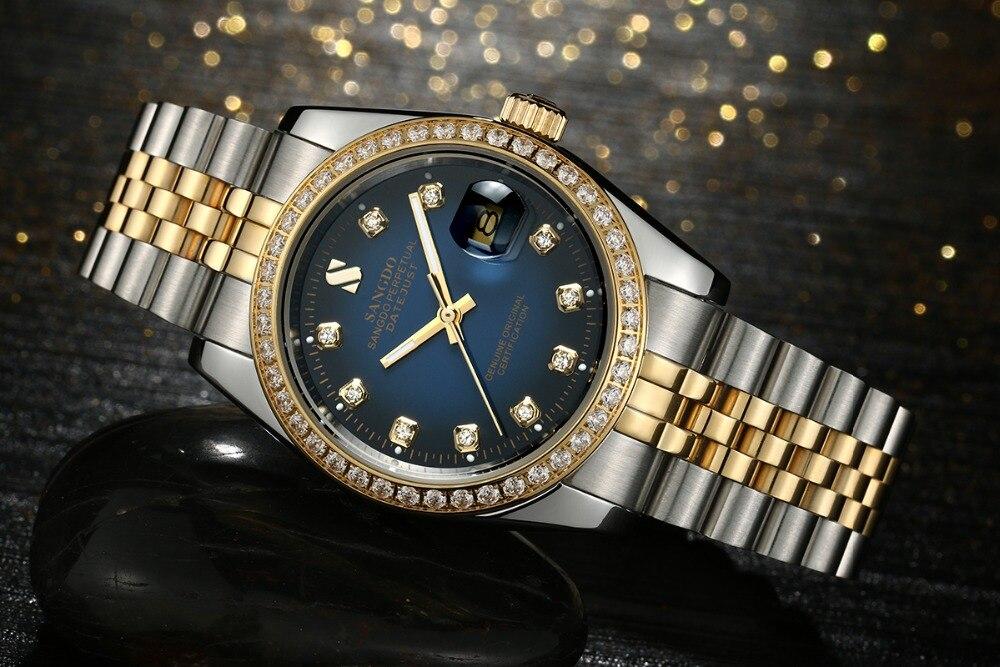 37mm Sangdo cadran bleu montre d'affaires automatique auto vent mouvement haute qualité montres mécaniques montre pour hommes 016A-in Montres mécaniques from Montres    2