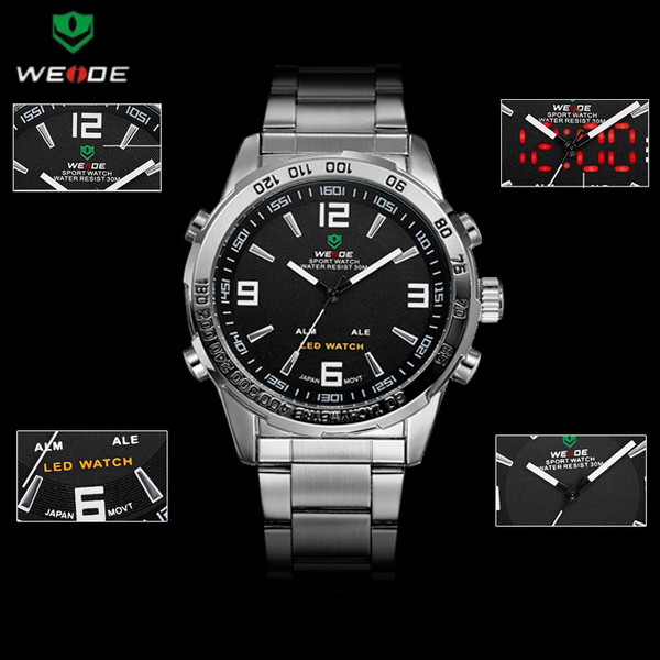 3bd9d157e78 Free shipping New Brand WEIDE LED watches Dual Time Analog   Digital  Military Watch Waterproof Men