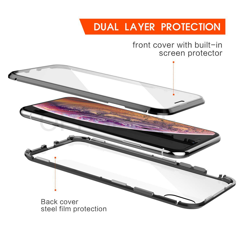 360 Double Sided Glass Magnetic Adsorption Phone Case For iPhone XR XS Max X 8 7 6 6S Plus Metal Magnet Tempered Glass Capinhas in Fitted Cases from Cellphones Telecommunications