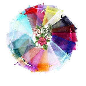 الملونة اورجانزا تغليف المجوهرات أكياس الزفاف لوازم الديكور هدية صغيرة الحقائب الرباط 5x7 7x9 8x10 10x12 13x18 cm