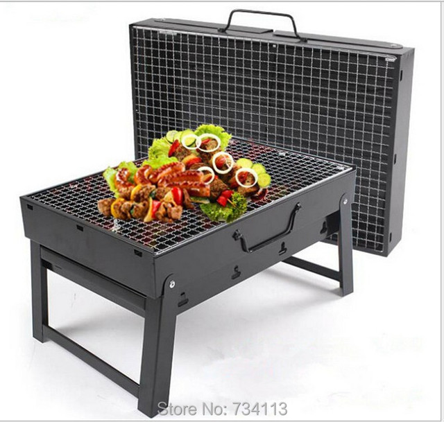Charcoal Grill 1-4 persons use Steel Foldable Picnic BBQ Grill for Barbecue black,length 35 cm width 27cm,outdoor BBQ GILLS