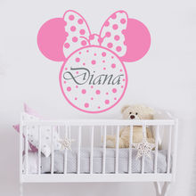 Girl Name Wall Decal Minnie Mouse Stickers Kids Room Nursery Decor Personalized Cute Bow Murals AY1102