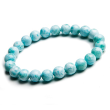 Natural Larimar Blue Beads Bracelet From Dominica 8mm Gemstone Healing Stretch Water Pattern AAAAAA цена в Москве и Питере