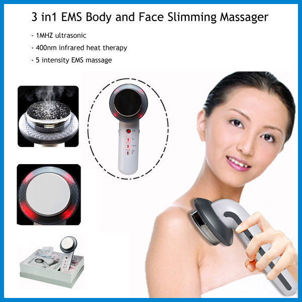 Home Health Care Fat Burning 3 in 1 EMS Ultrasonic Infrared Body Face Shaping Slimming Beauty Massager Machine for Men and Women