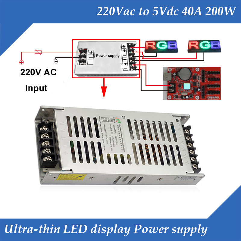 Ultra-thin Special LED Display Switching Power Supply 220VAC Input, 5V 40A 200W Output