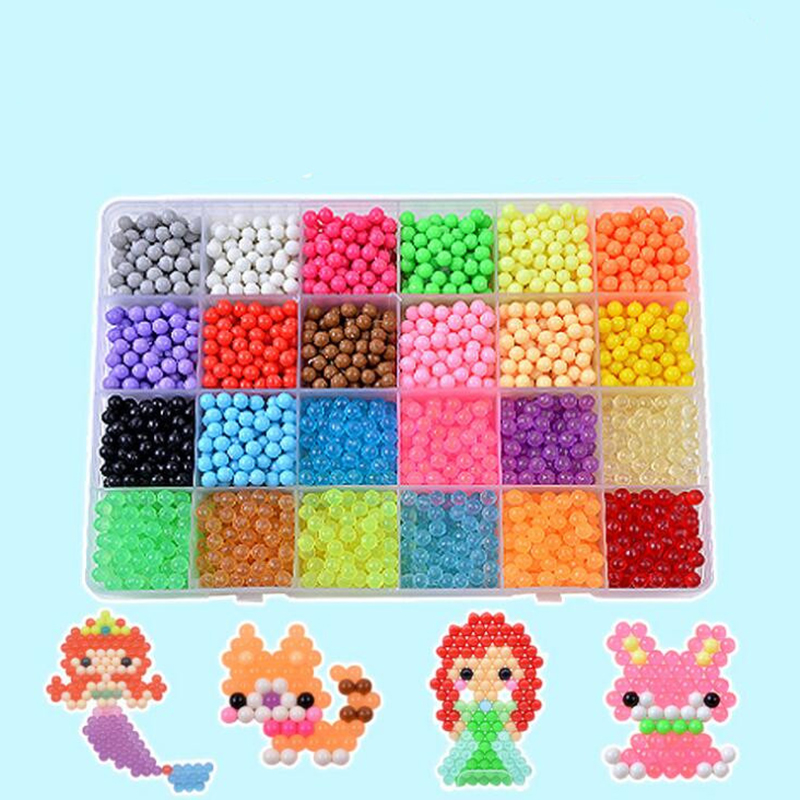 DIY Water Mist Magic Beads Toys For Children Puzles 3d Animal Molds Hama Beads Hand Making Puzzle Kids Educational Toys