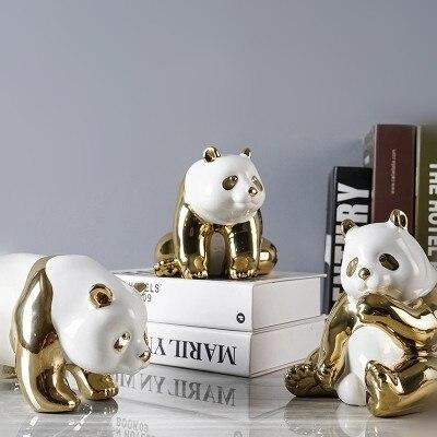 Figurine chinoise en céramique plaquée or panda ornements créatifs modernes décors de maison