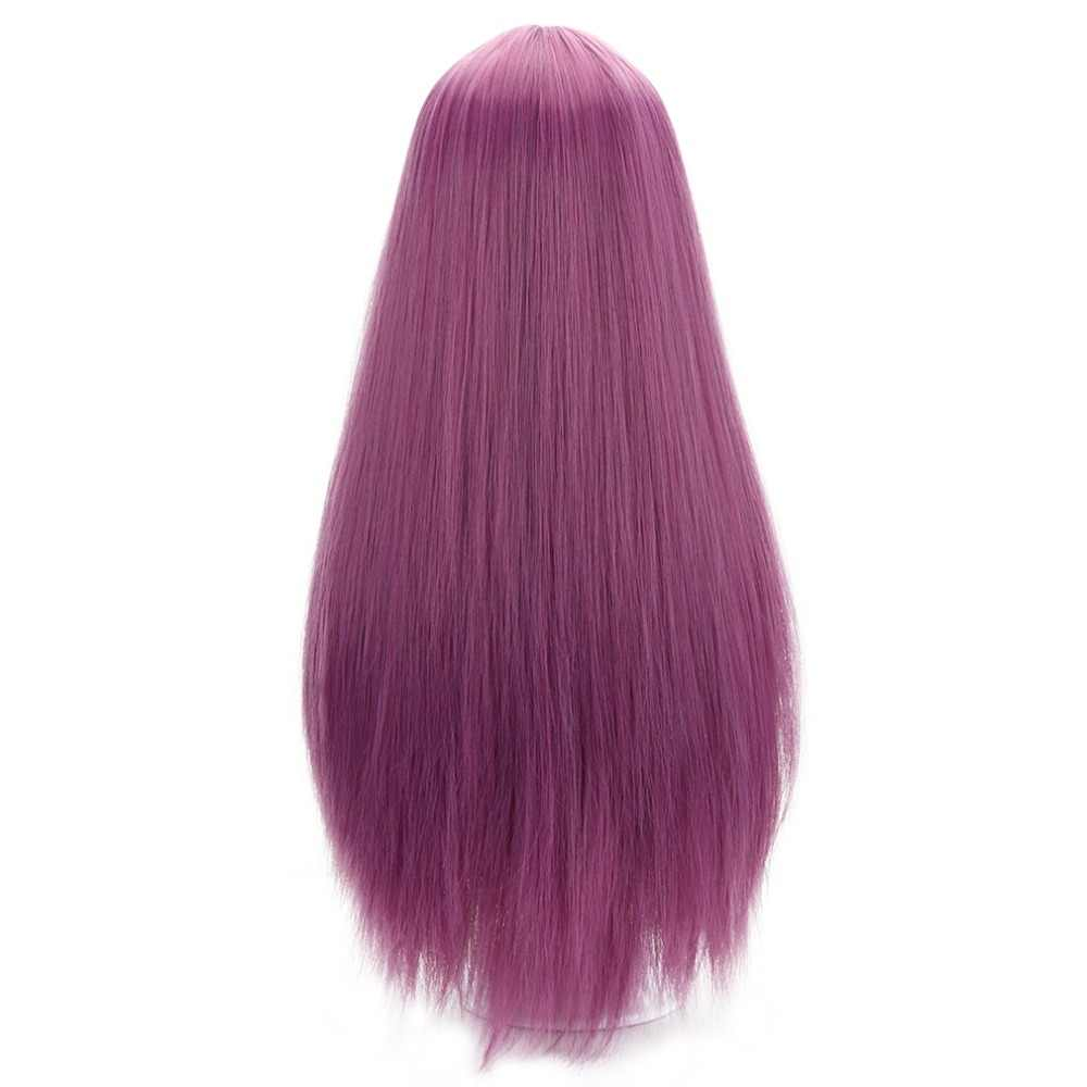 "27 ""pelucas rectas largas rosadas de mujer con flequillo pelo sintético Anime Lolita pelucas para fiesta Cosplay disfraz Alta Temperatura de fibra"
