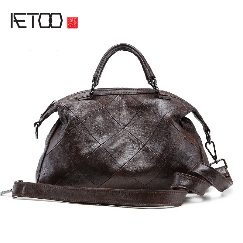 AETOO New fashion handbags classic leather handbag simple fashion shoulder shoulder bag 247 classic leather
