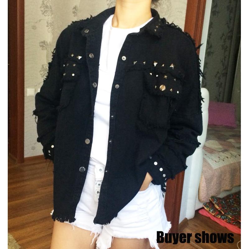 2017 fashion autumn winter jacket female black Rivet Frayed women s jean jacket Long Sleeve women