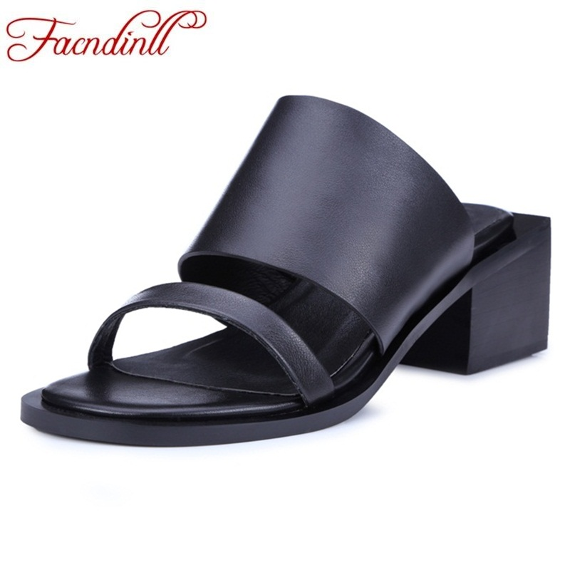 FACNDINLL women genuine leather summer slipper new simple high heels square heel shoes ladies black casual date woman sandals new women sandals low heel wedges summer casual single shoes woman sandal fashion soft sandals free shipping