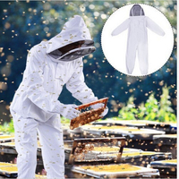 2 Colors White Coffee Cotton Beekeeping Jacket Veil Beekeeper Equipment Tools Hat Sleeve Suit XL XXL