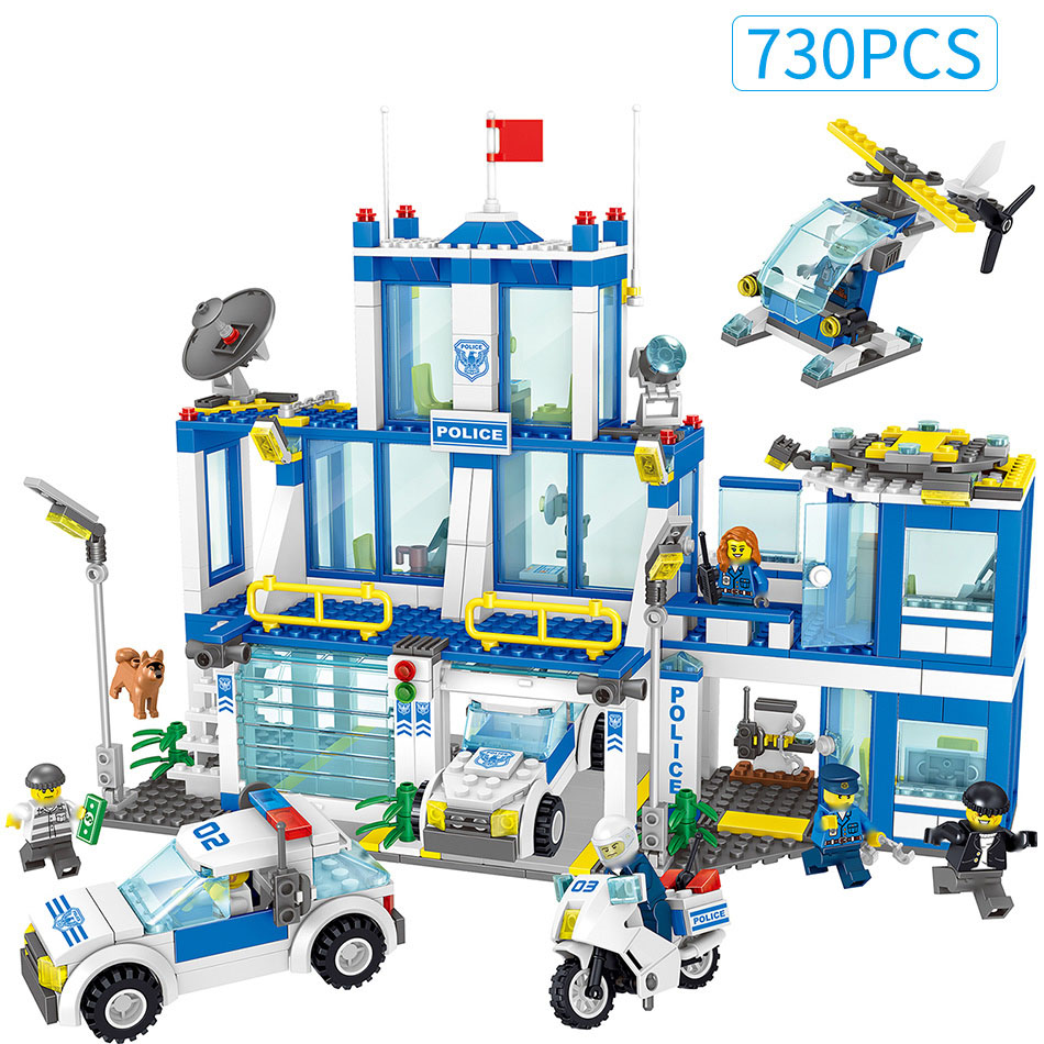 730PCS Police Station Prison Helicopter Building Block For Kids Compatible All Brand City Policemen Figures Car