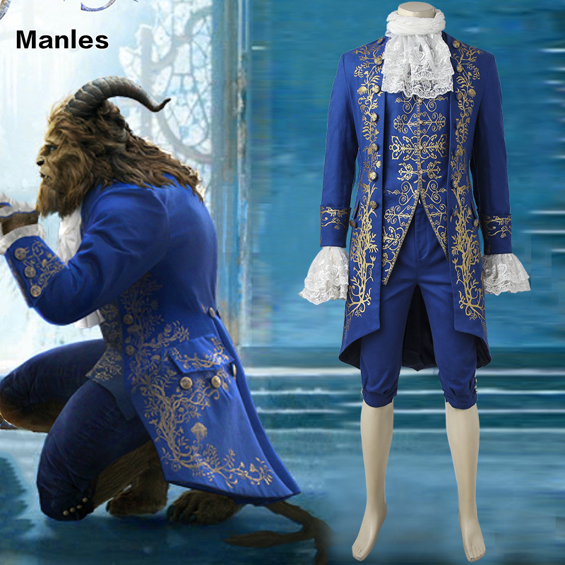 2017 Movie Beauty and the Beast Cosplay Beast Outfit Gentleman Suit Blue Clothing Adult Men Halloween Carnival Costume Customize