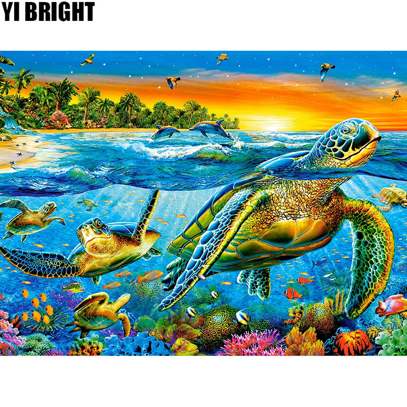 5D DIY Diamond Embroidery Colorful Sea Turtle Full Square