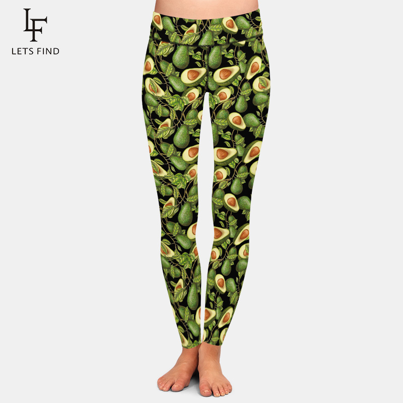 LETSFIND Fashion Printed Women   Legging   New Avocado Design Black   Leggings   High Waist Plus Size Women Fitness Pants