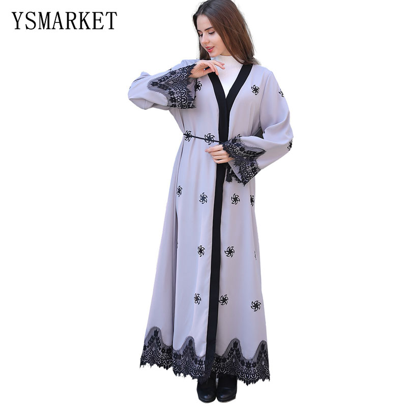 Décontracté robe musulmane longues robes kimono vêtements islamiques style turc grande taille femmes cardigan robes maxi AK01