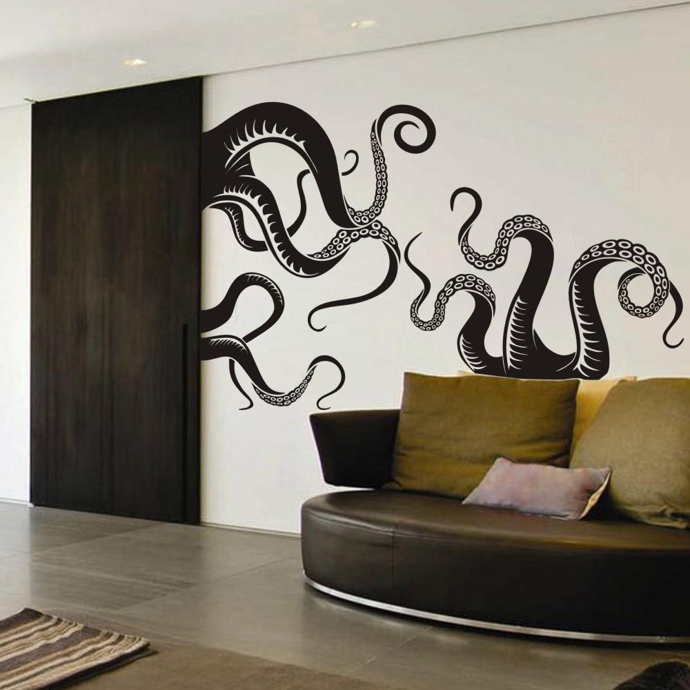 Large Size Octopus Tentacles Vinyl Wall Art Sea Monster Kraken Squid Bathroom Doorway Shower