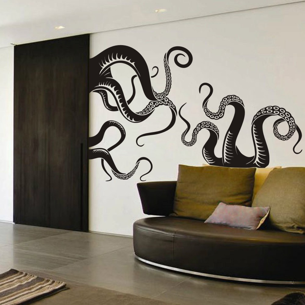 Large Size Octopus Tentacles Vinyl Wall Art sea monster kraken squid  bathroom doorway shower bathtub wall sticker decal f72b01f8abd6