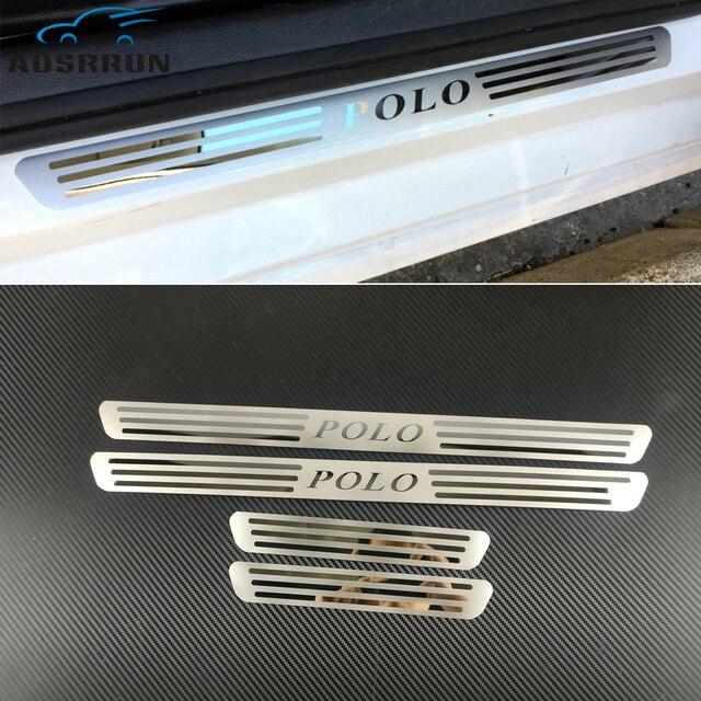 Plaque décusson de porte latérale en acier inoxydable, accessoire de voiture pour VW VOLKSWAGEN POLO 2009, 2010, 2011, 2017, garniture de seuil de voiture