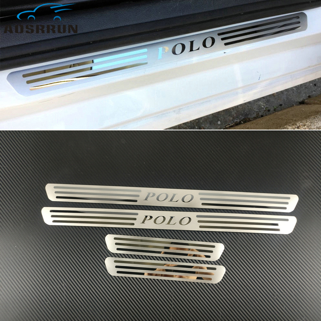 car styling Stainless Steel Side Door Scuff Plate Door Sill Trim Fit Car accessories For VW VOLKSWAGEN POLO 2009 2010 2011 2017