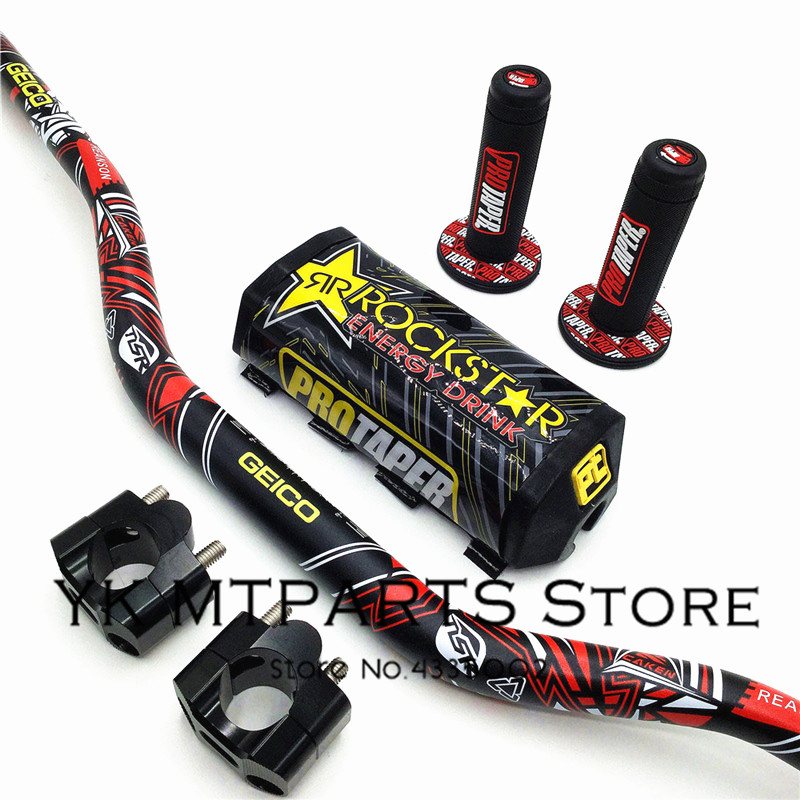 1 1/8 Fat Bar 28MM Handlebars+Grips+Bar Clamps+Bar Pad Motorcycle MX Motocross Pit Dirt Bike Fit For KTM EXC CRF YZF250 KLX RMZ1 1/8 Fat Bar 28MM Handlebars+Grips+Bar Clamps+Bar Pad Motorcycle MX Motocross Pit Dirt Bike Fit For KTM EXC CRF YZF250 KLX RMZ