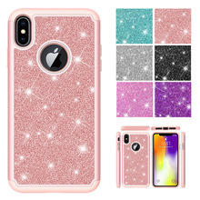 LUCKBUY Fundas luxury Cases For iPhone X XR XS Max XSMAX 6 6s 7 8 Plus 6sPlus Bling Plain Soft TPU 2 in 1 PC + Silicone Case