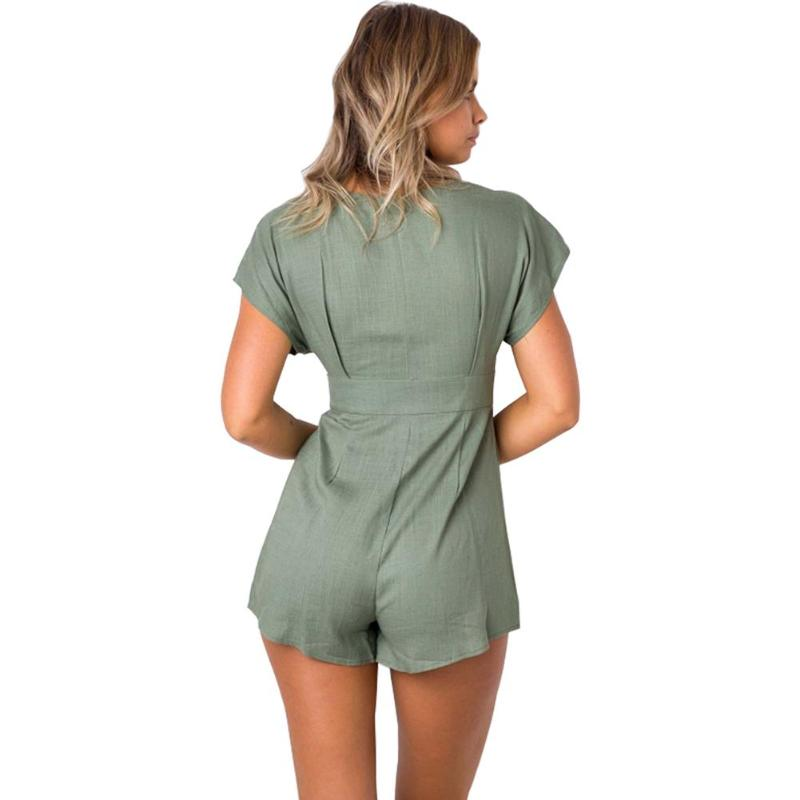 Summer Sexy Women Short Sleeve Jumpsuits Solid Button High Waist Bodysuits V-Neck Casual Short Suits Playsuit for Lady Female