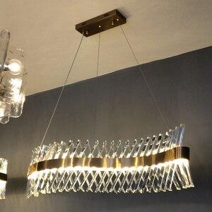 Image 3 - Wave design lungo lampadario di cristallo HA CONDOTTO LA lampada AC110V 220V lustro di cristallo kronleuchter bar illuminazione domestica luce