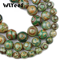 лучшая цена WLYeeS China Tibetan Dzi Eyes Beads Natural Green Carnelian 8-12mm Round Loose Beads for Jewelry Bracelet Making DIY Accessoriy