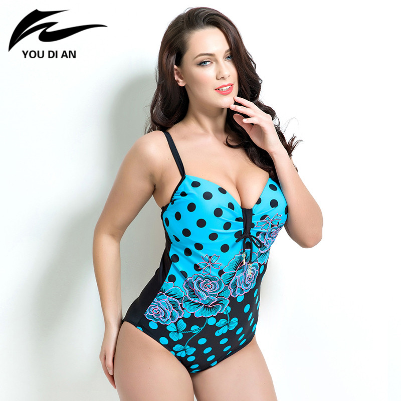 2016 sexy women summer dress Womens Plus Size One Piece Swimsuit Swimwear Padded Monokini women Bathing Suits Large Swimsuits women one piece triangle swimsuit cover up sexy v neck strappy swimwear dot dress pleated skirt large size bathing suit 2017