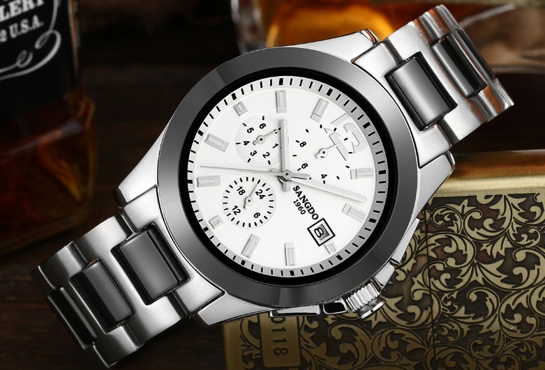 40mm Sangdo Business watch Automatic Self-Wind movement High quality Mechanical watches Auto Date Men's watch 053A original binger mans automatic mechanical wrist watch date display watch self wind steel with gold wheel watches new luxury