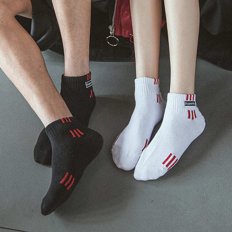 Red stripes Harajuku Style Unisex Comfortable Cotton Ankle Socks Fashion Trend Korean version Spring and summer Couples Socks