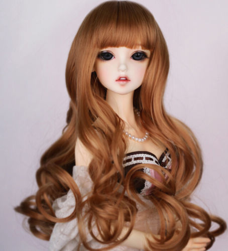New 1/3 BJD SD Doll 8-9 Doll Head Mix Brown Long Curl Noble Fur Wig Dollfie 22-24cm new 1 3 22 23cm 1 4 18 18 5cm bjd sd dod luts dollfie doll orange black short handsome wig