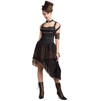 Punk Gothic Sexy Backless Lace Dresses Casual Lolita Black Sleeveless Halter Dress Steampunk Vintage Asymmetric Hem