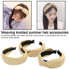 Chic Korean Style Solid Knotted Handmade Straw Headband Turban for Women Girls Hoop Bezel Hairbands Hair Accessories Head wear